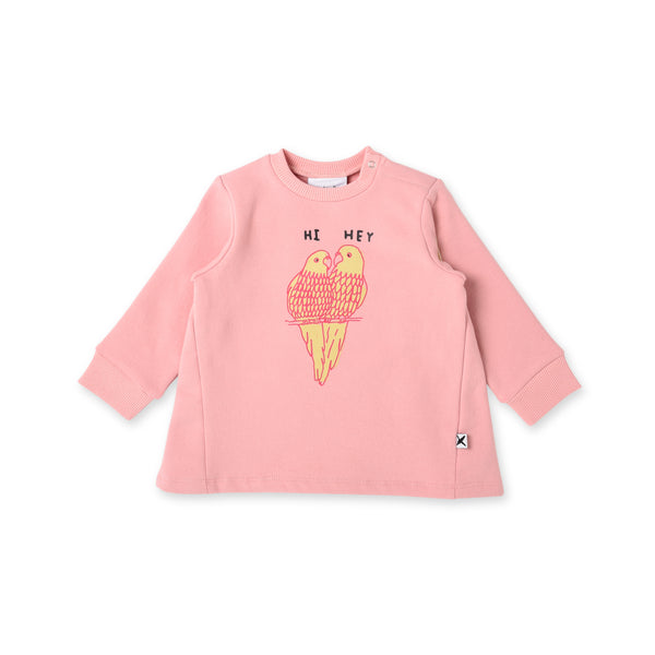 Minti hi hey parrot baby crew jumper in muted pink cotton fleece