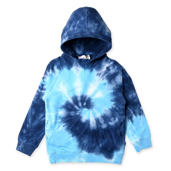 a flay image of the Minti long sleeve spiral furry cotton fleece hoodie in blue