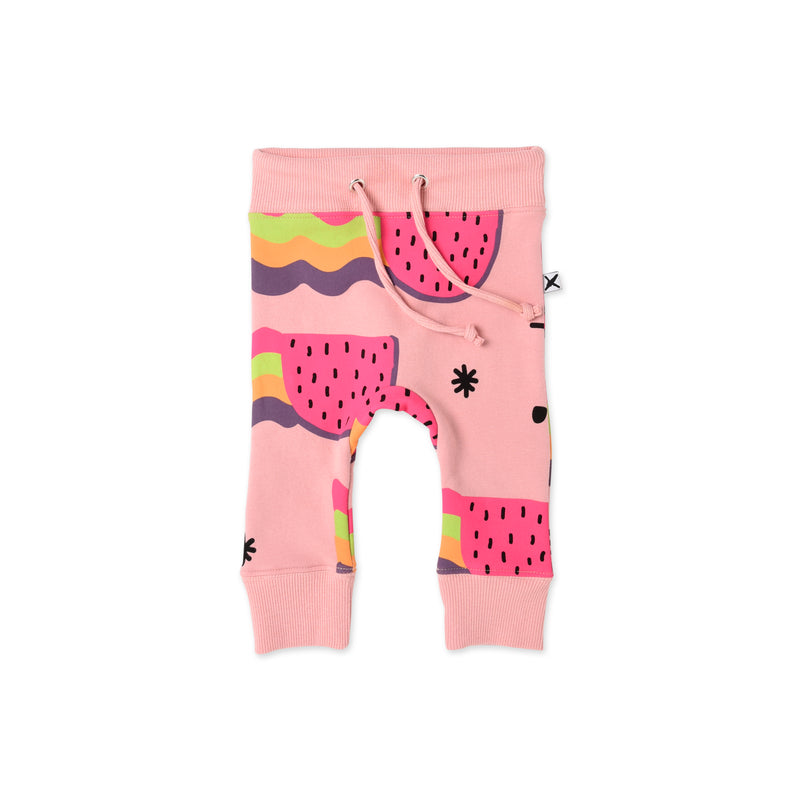 Minti watermelon rainbows furry baby tracksuit pant in printed cotton fleece