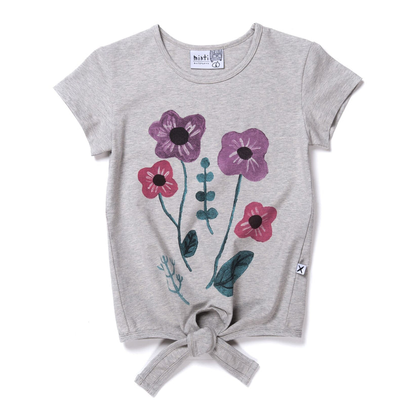 Minti bouquet tie short sleeve t-shirt in grey cotton laying on a flat background