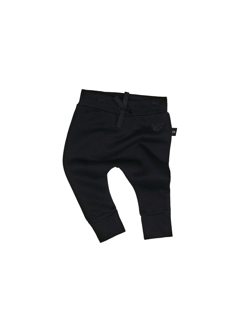 Huxbaby Black Drop Crotch track Pant in black