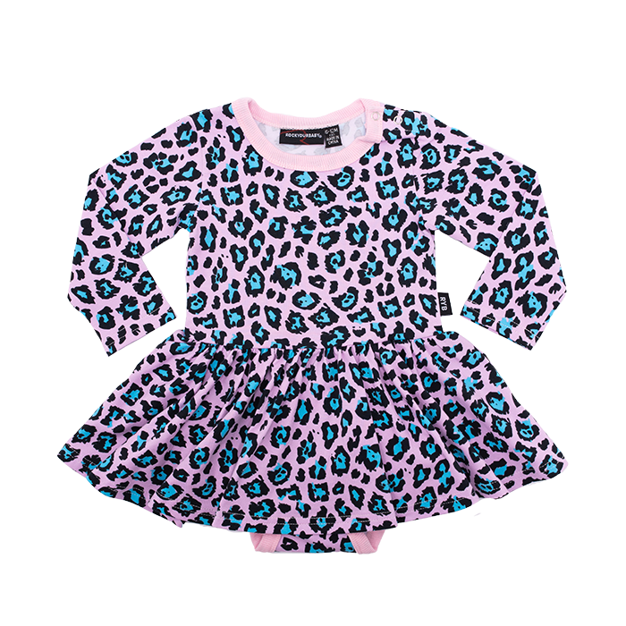 rock your baby leopard print waisted baby dress in cotton stretch BGD2011-PL