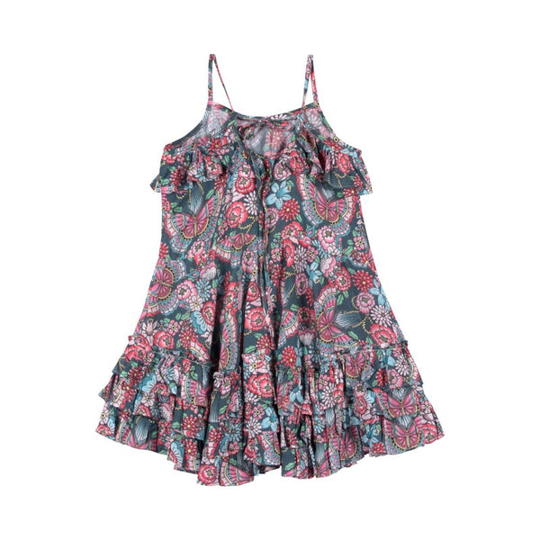 Frilled Dress with Ties - Tattoo Flowers in multi colour print