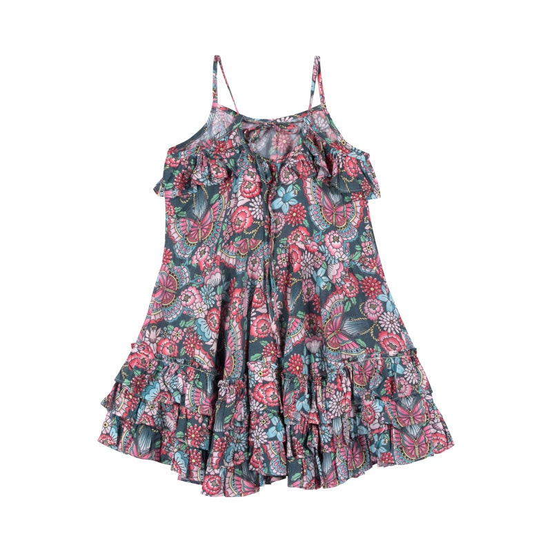 Paper Wings Frilled Dress with Ties - Tattoo Flowers in multi colour print