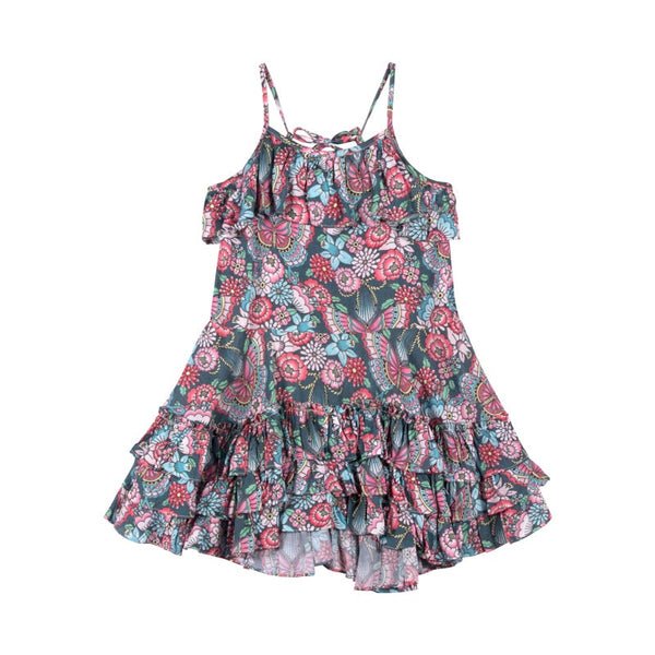 frilled-dress-with-ties---tattoo-flowers-in-multi colour print