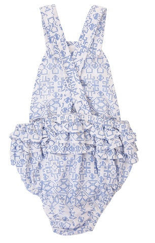 Peggy Jane Playsuit Blue Cross Stitch in blue