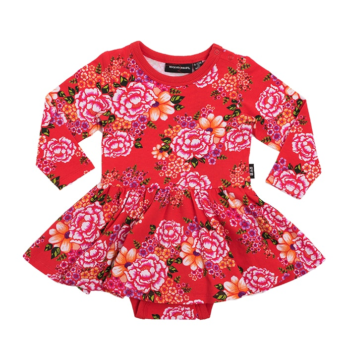 tokyo-joe-baby-waisted-dress-in-multi colour print