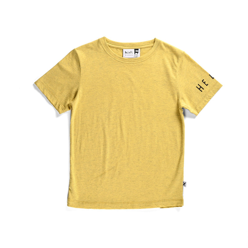 Minti clean cut short sleeve t-shirt in yellow cotton laying on a flat background