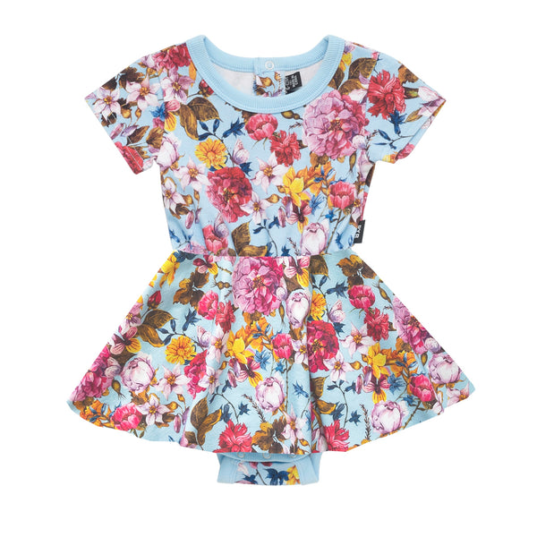 nothing-but-flowers-short-sleeve-sadie-waisted-dress-in-multi colour print