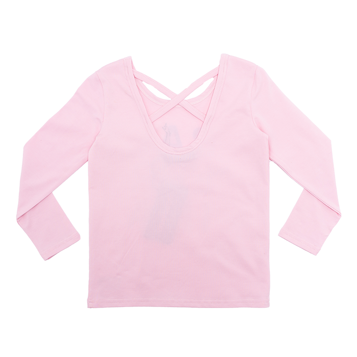 rock your baby and kids long sleeve pink ballerina t-shirt with criss cross detail at the back TGT2079-BA