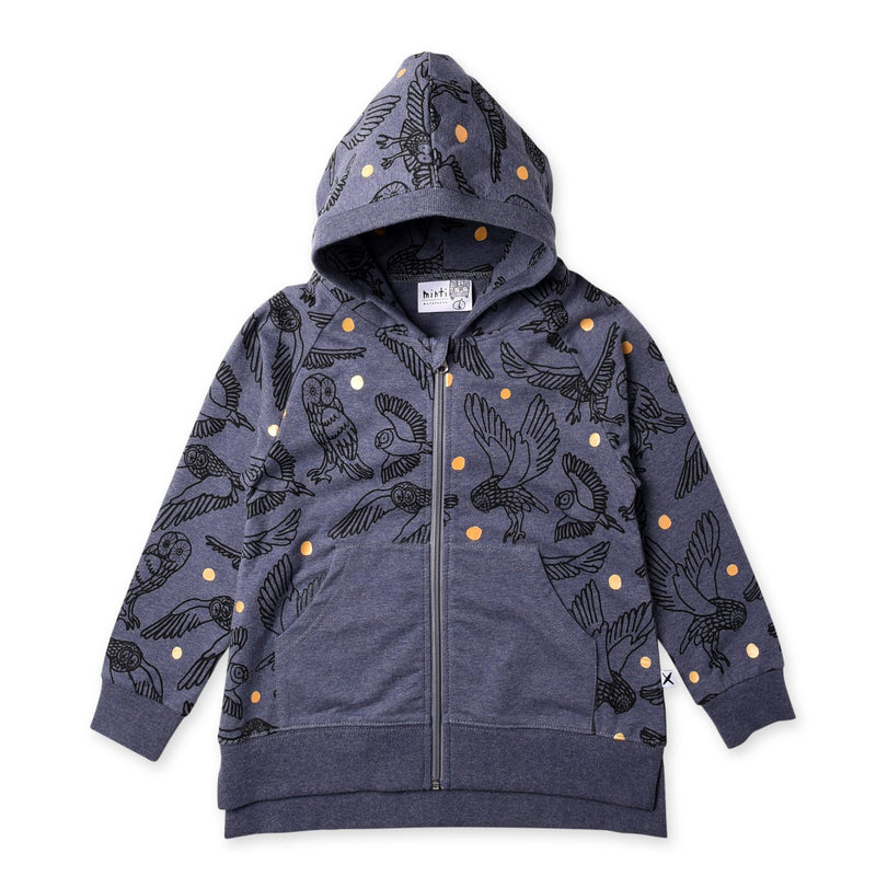 a flat lay image of the minti hoot hoot zip up hoodie in midnight marle MNT762-W20-HH-MM