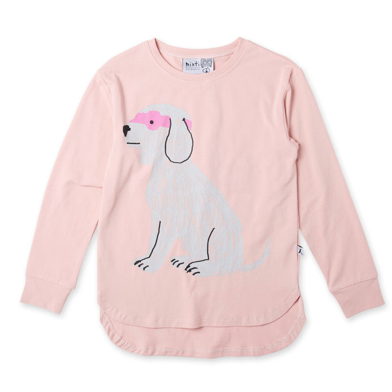 a flat lay image of the minti long sleeve super dog t-shirt in muted pink cotton MNT756-W20-SD-MP