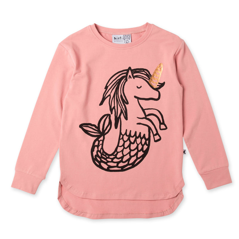 a flay lay of the minti magical seahorses t-shirt in muted rose pink MNT756-W20-MS-LR