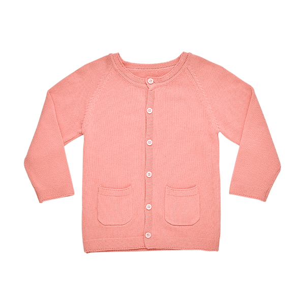 a front view of the rock your baby pink cotton cardigan TGK209-PI