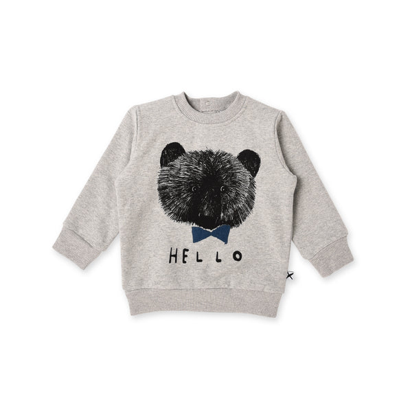 a front view of the Minti sketchy bear baby crew jumper in grey marle cotton fleece