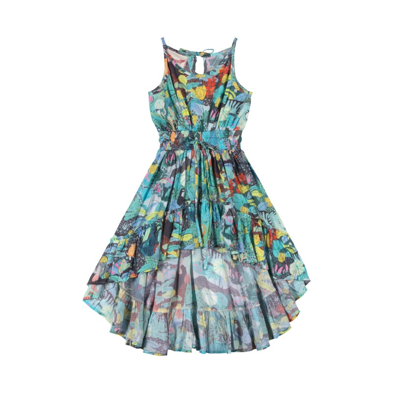 shirred-hilo-dress--mystery-jungle-in-multi colour print