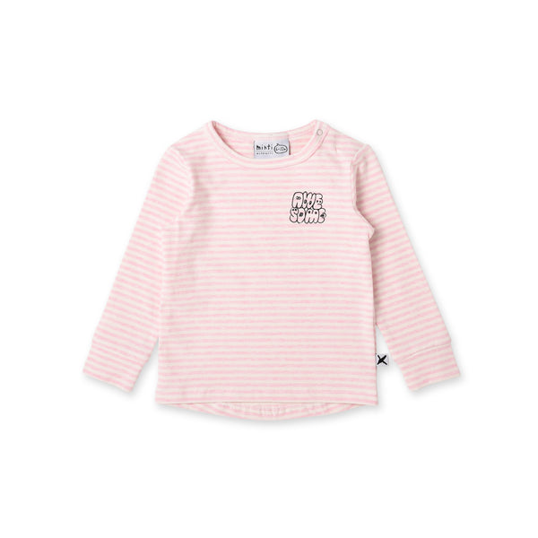 minti long sleeve awesome baby t-shirt in pink stripe cotton MNT769-W20-AW-PS