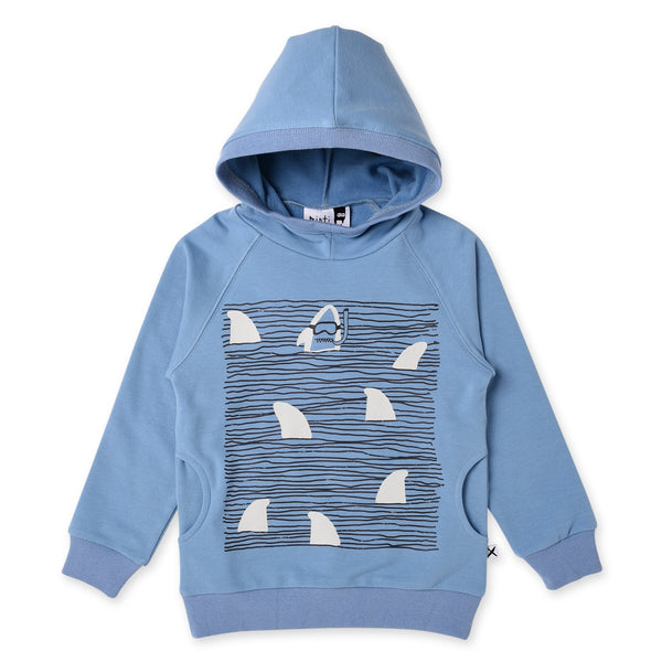 minti long sleeve fleece boys hoodie jumper in muted blue cotton MNT228-W20-F-SS-MB