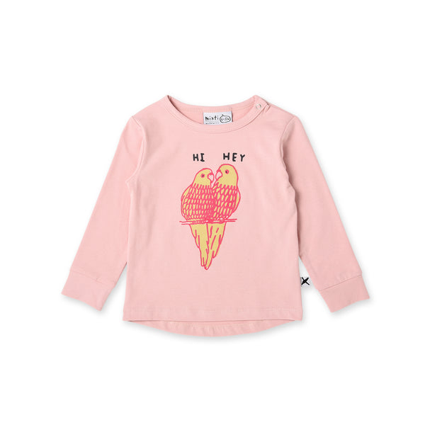minti long sleeve hi hey parrot baby t-shirt in pink MNT769-W20-HHP-M