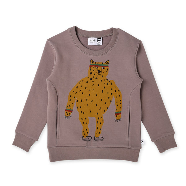 long sleeve sporty cheetah fleece crew in dark grey MNT893-W20-F-SC-DG