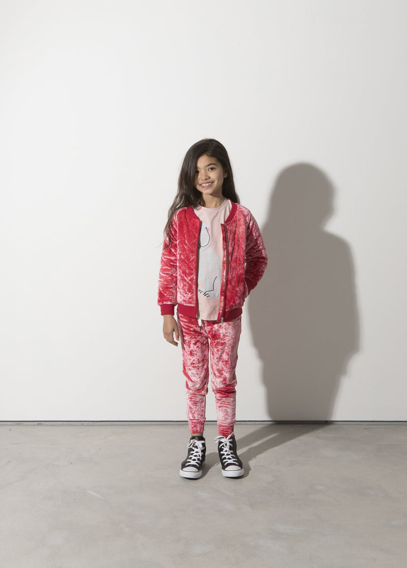 minti long sleeve super dog tshirt layered under girls velour tracksuit MNT756-W20-SD-MP&MNT920-W20-RV-2