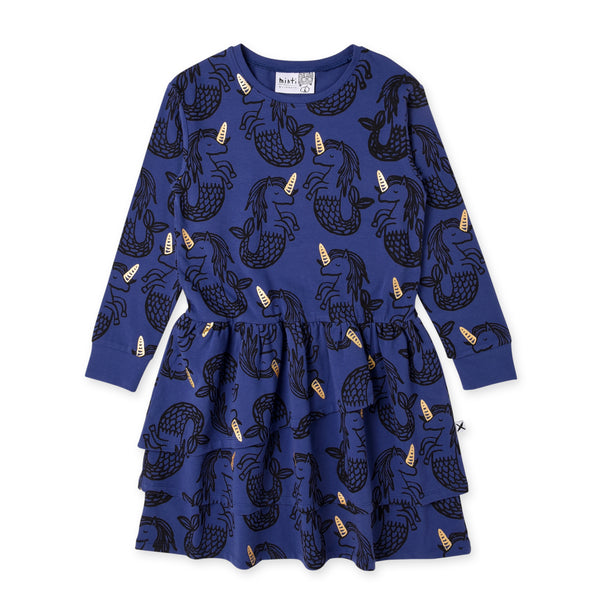 Minti long sleeve magical seahorses girls dress in indigo