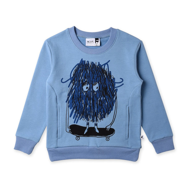 minti long sleeve kids messy skater crew in muted blue cotton fleece