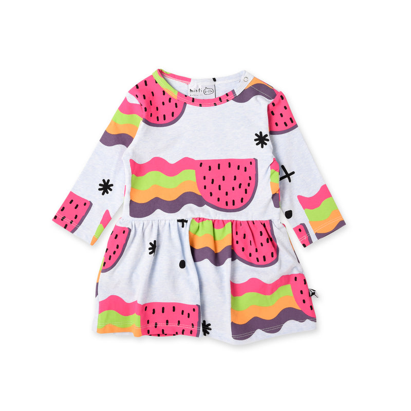 minti watermelon rainbows long sleeve baby onesie dress in pale blue MNT917-W20-WR-PB