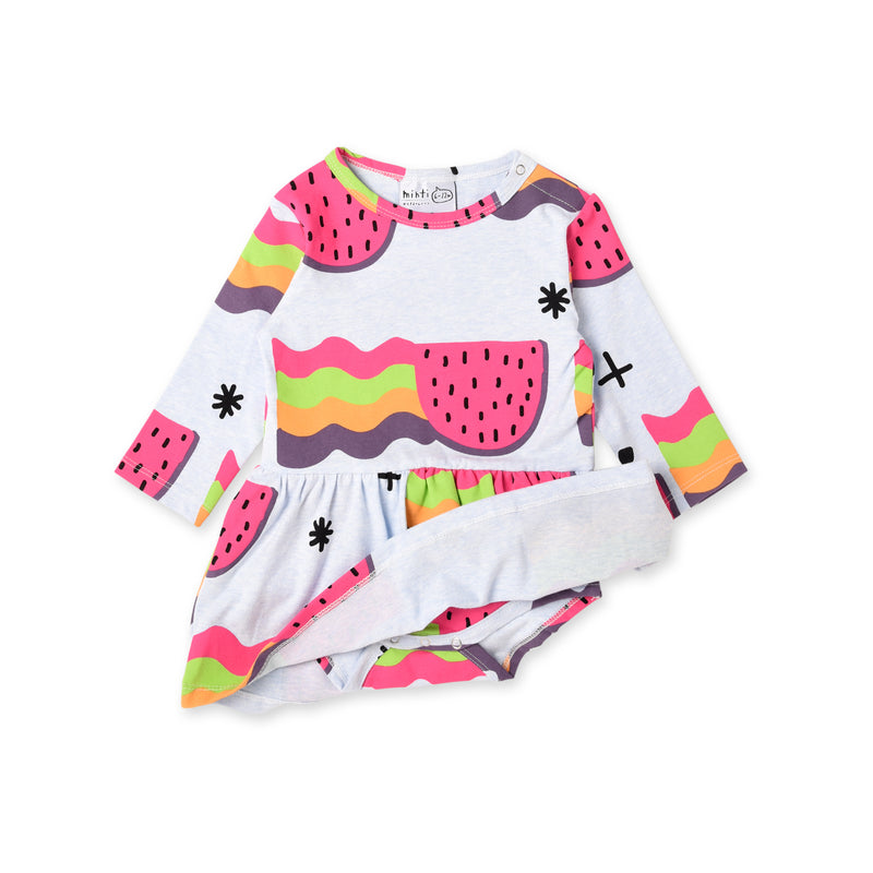 minti watermelon rainbows long sleeve baby onesie dress showing the onesie underneath MNT917-W20-WR-PB