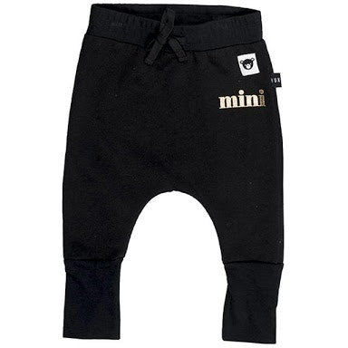 Huxbaby Black Jersey High Cuff Pant in black