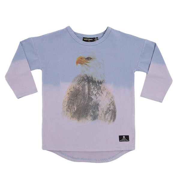 rock your baby eagle eye long sleeve t-shirt in blue dip dye effect TBT2063-EE