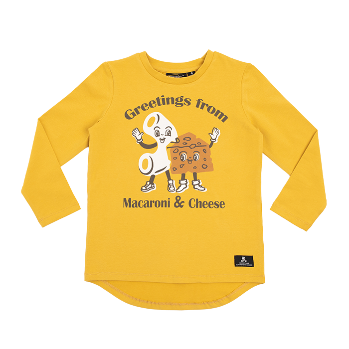 Rock Your Baby long sleeve mac and cheese kids t-shirt in mustard cotton jersey TBT2039-MC