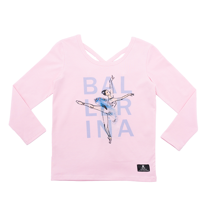 a front view of the rock your baby ballerina t-shirt in pink cotton jersey TGT2079-BA