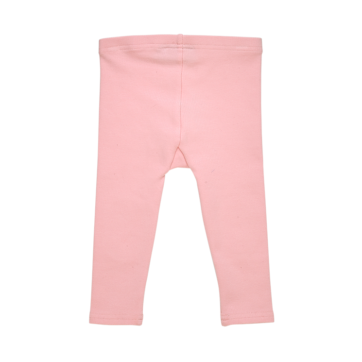 a back view of the rock your baby knee patch baby tights in pink brushed cotton BGL204-PI