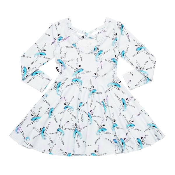 a front view of the lets dance waisted dress by rock your kid TGD20236-LD