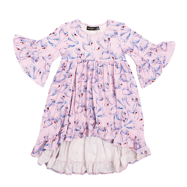 rock your kid and baby swans boho dress in pink cotton