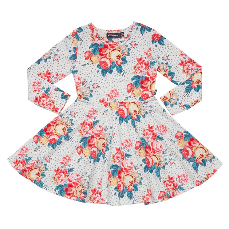 Rock Your Baby long sleeve antique chintz waisted dress in floral cotton jersey