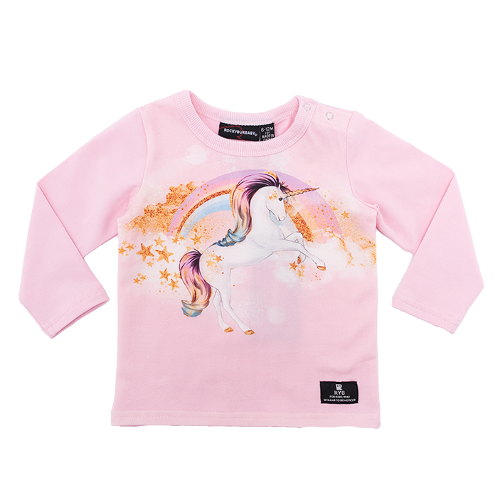 rock your baby long sleeve stargazer t-shirt in pink cotton with unicorn print BGT206-SG
