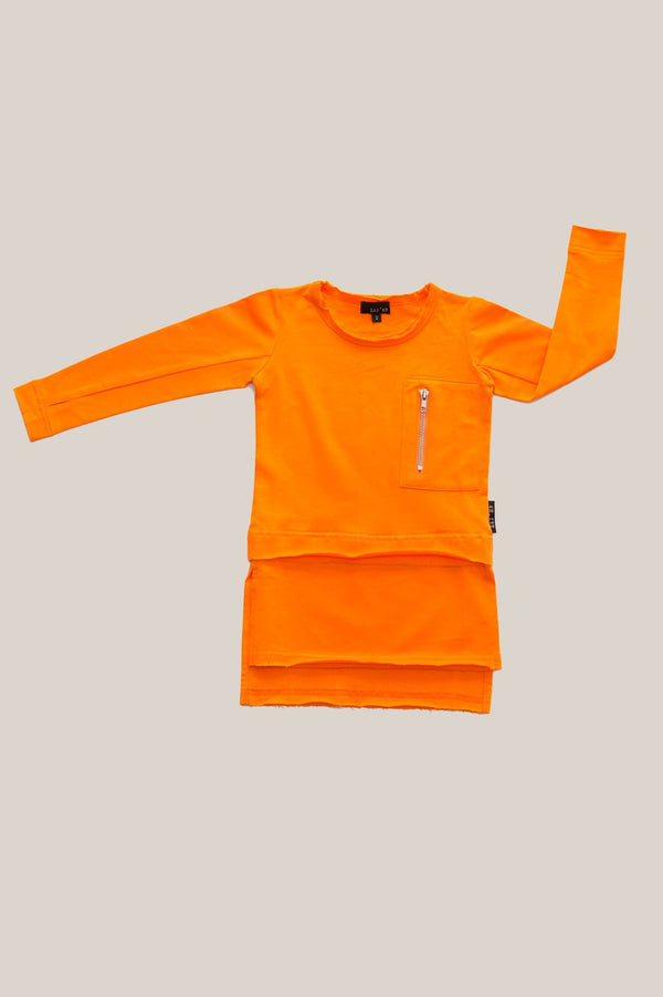 Lil Mr Zipper Conversion Long Sleeve Tee in orange