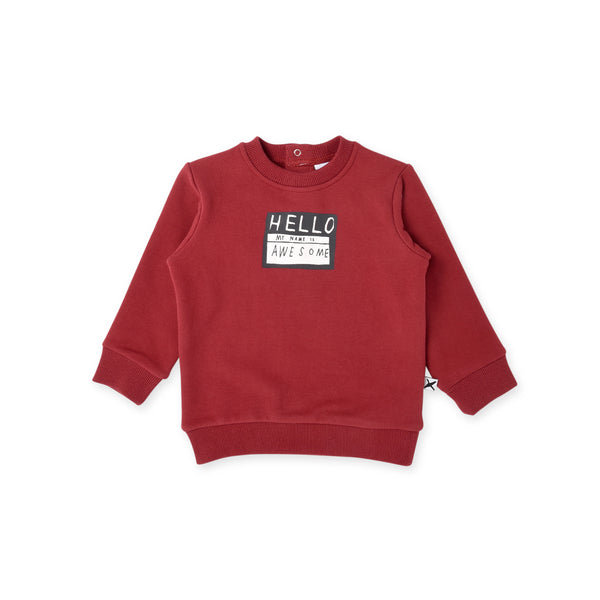 my name is awesome long sleeve baby crew in rusty red MNT626-W20-F-MN-RR