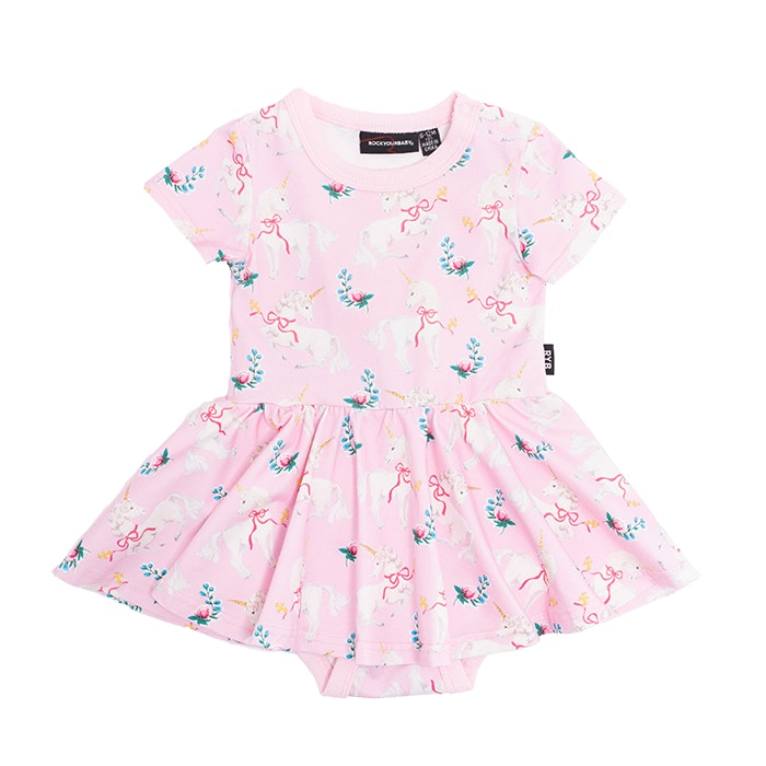 unicorn-ribbons-baby-short-sleeve-waisted-dress-in-pink