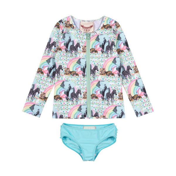 zip-up-rashie-set---rainbow-safari-in-multi colour print