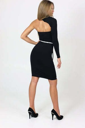 Sexy black dress with effect on the right arm