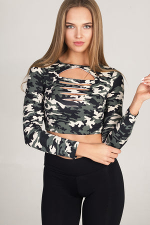 Top Phoenix with army print