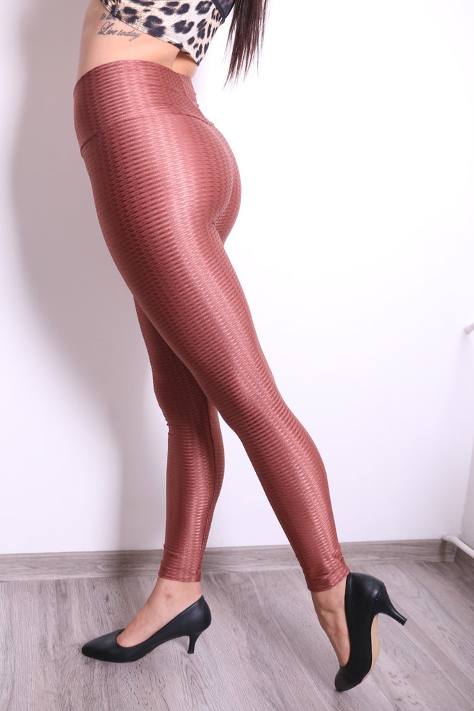 Elegant Leggings in Shiny Brown