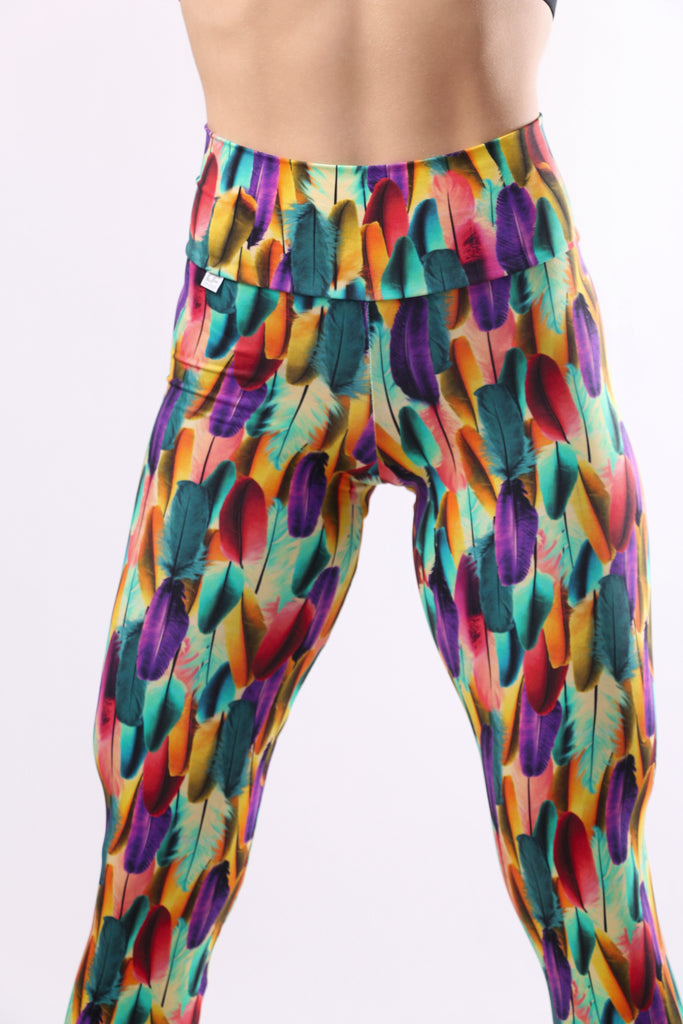 Versatile Leggings - Colored feathers print