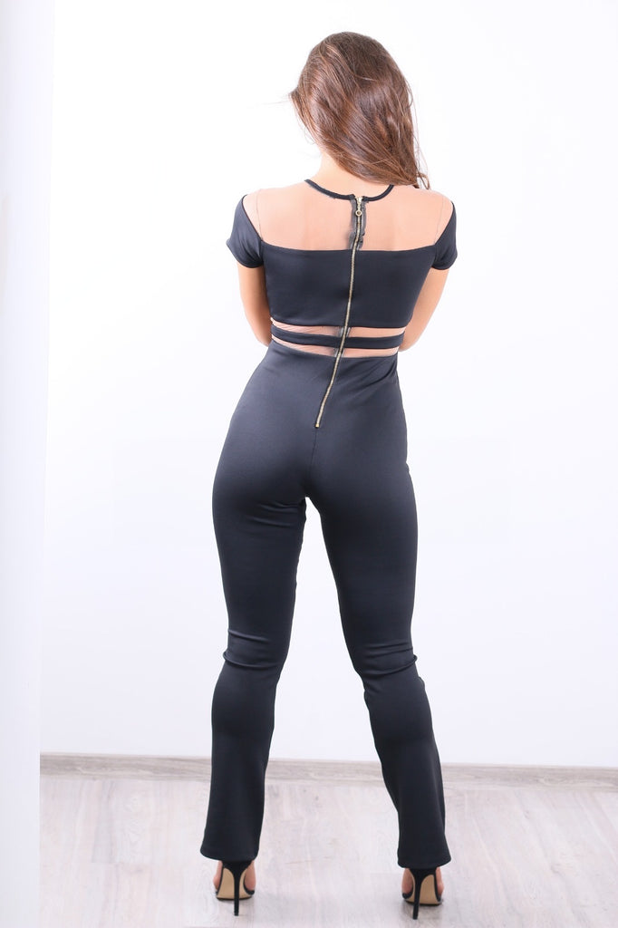 Elegant black jumpsuit with Tule