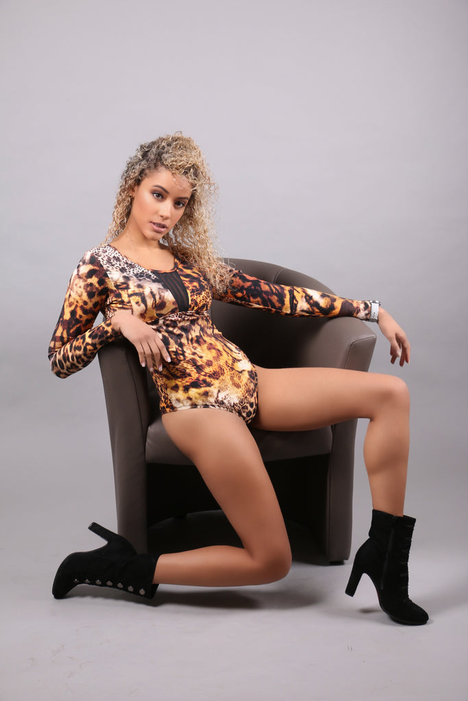 Elegant Body with tulle - Leopard print