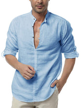 Cargar imagen en el visor de la galería, Mens Long Sleeve Henley Shirt Cotton Linen Beach Yoga Loose Fit Henleys Tops