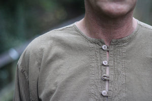 Brown collarless shirt/express delivery